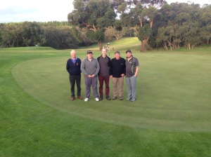 Left To Right: Bruce Packer caddy for his son Scott Packer, Paul Whitford B Grade Champion Runner Up, Scott Packer B Grade Champion, Graham Warren Match Referee, Martin Cameron caddy for Paul Whitford