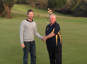 C Grade match referee Scott Lonergan congratulating C Grade Champion Glen Tilley